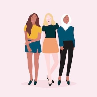 Groupe de femmes fortes vecteur