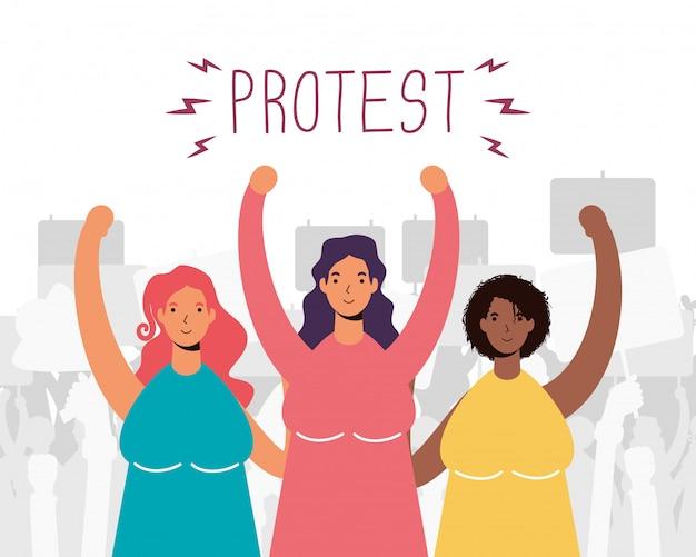 Groupe de femmes interracial protestant