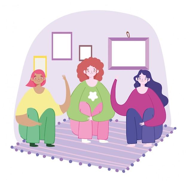 Groupe femmes jeune personnage assis sur le sol avec illustration de tapis