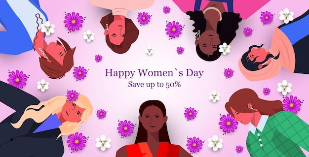 Groupe de femmes levant les poings pour la bannière de vente de la journée de la femme du 8 mars
