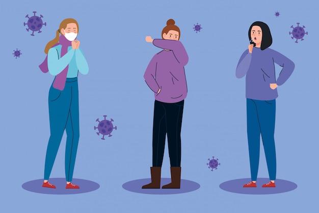 Groupe femmes malades du coronavirus 2019 ncov