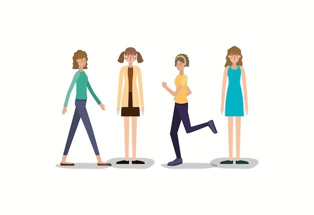 Groupe de femmes marchant et courant des personnages