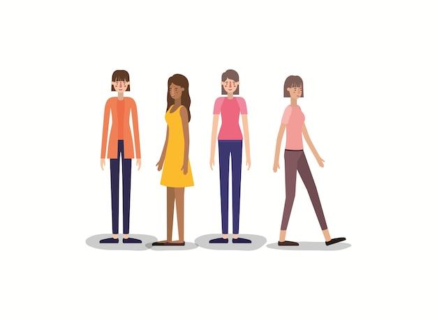 Groupe de femmes marchant des personnages