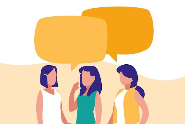 Groupe de femmes parlant des personnages