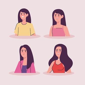 Groupe de femmes personnages avatars d'âge différent