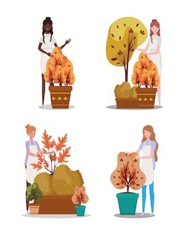 Groupe de femmes avec des plantes d'automne
