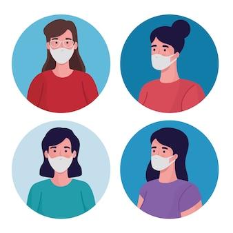 Groupe de femmes portant des personnages de masques médicaux