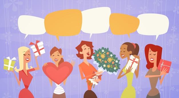Groupe de femmes tenant un bouquet de fleurs dans des boîtes-cadeaux affiche rétro 8 mars