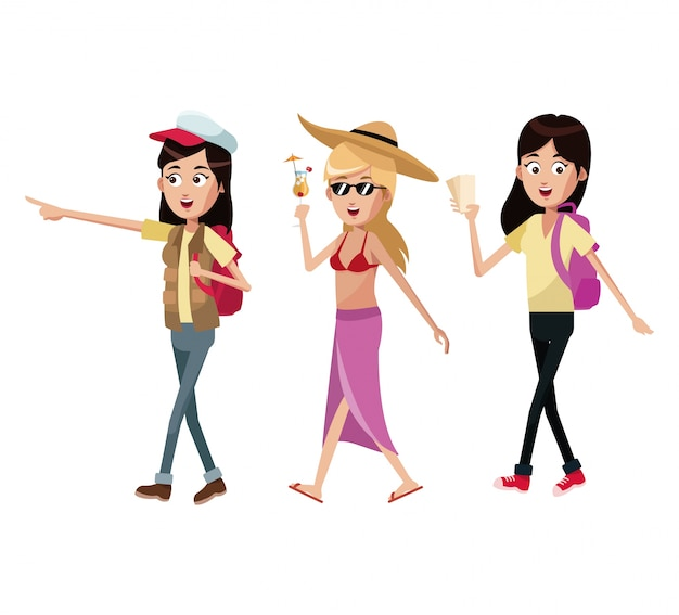 Groupe de femmes touristes