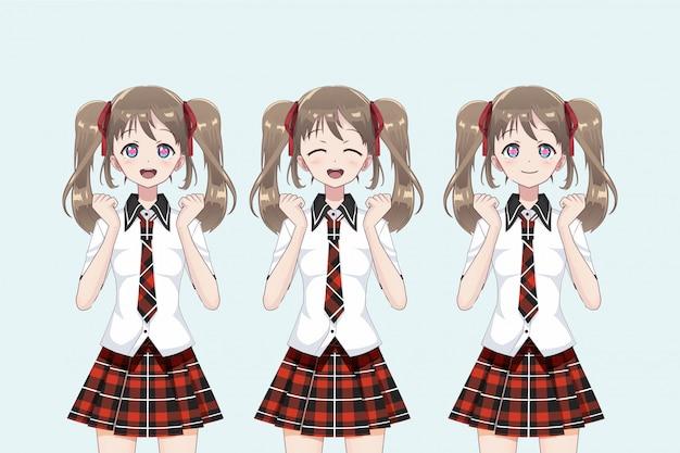 Groupe de filles anime (manga) d'écolières, dans un style japonais.