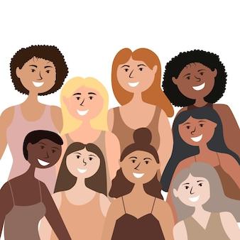 Groupe de filles indépendantes fortes de différentes nationalités