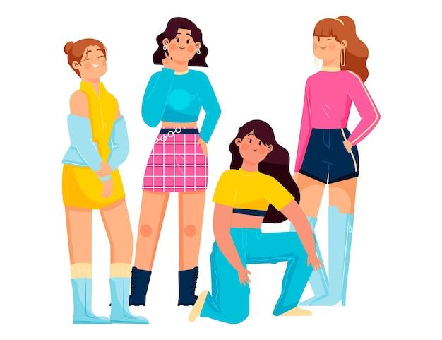 Groupe de filles k-pop illustré