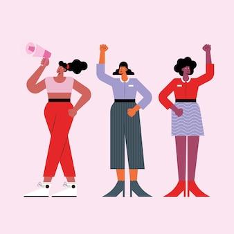 Groupe de filles protestant contre des caractères