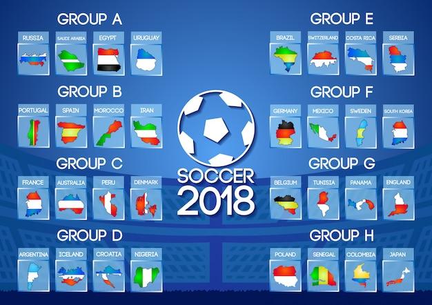 Groupe final de football de russie en couleur de drapeau d'icône de carte