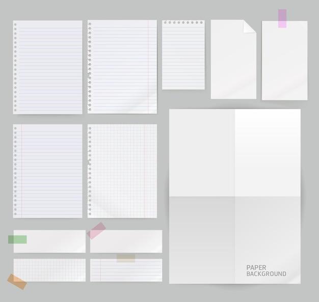 Groupe de fond de papier isolé sur gris