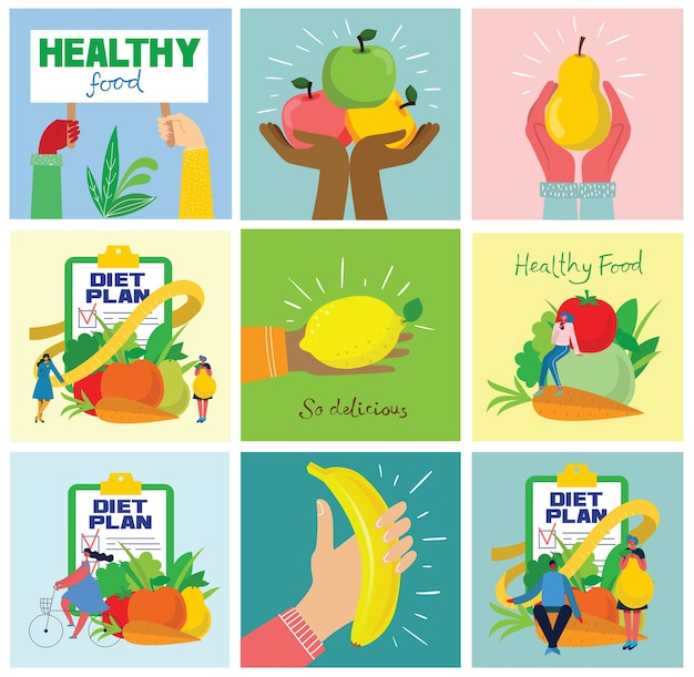 Groupe de fruits frais avec les mains. concept de régime. illustrations vectorielles dans le style plat