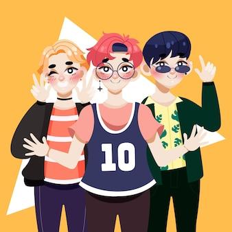 Groupe De Garçons K-pop Illustré Vecteur gratuit