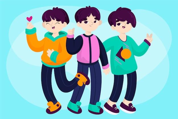 Groupe De Garçons K-pop Vecteur gratuit