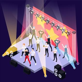 Groupe de garçons de musique pop k chantant et dansant sur une scène extérieure isométrique