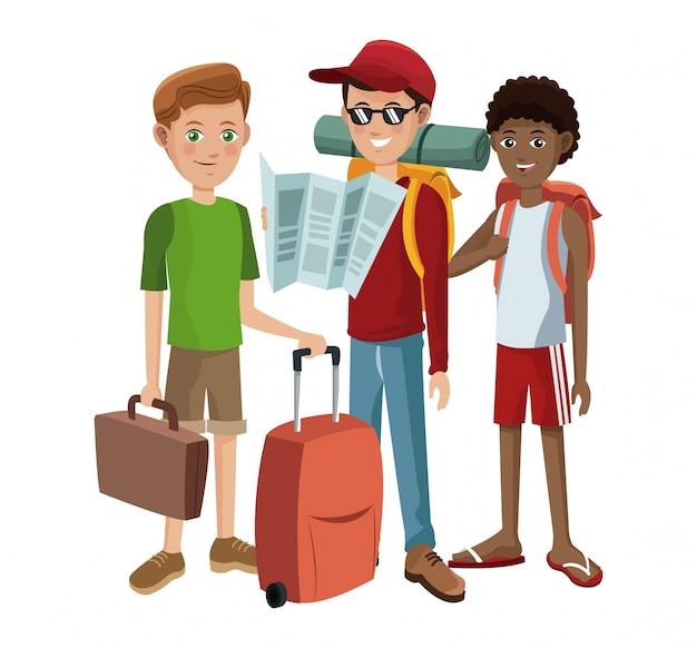 Groupe de garçons voyageant