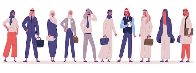 Groupe de gens d'affaires élégants musulmans arabes se tenant ensemble. personnages de bureau d'affaires masculins et féminins dans l'ensemble d'illustrations vectorielles de vêtements traditionnels. équipe commerciale arabe