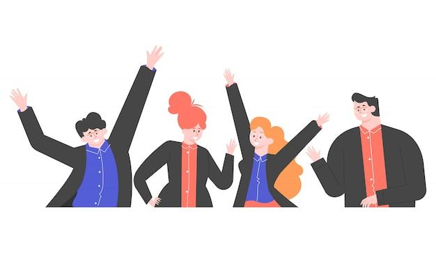 Groupe de gens d'affaires heureux en costumes d'affaires. démarrage et réussite du projet. illustration plate.