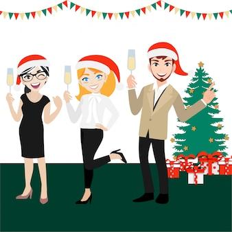 Groupe de gens d'affaires heureux avec personnage de dessin animé, joyeux noël et bonne année