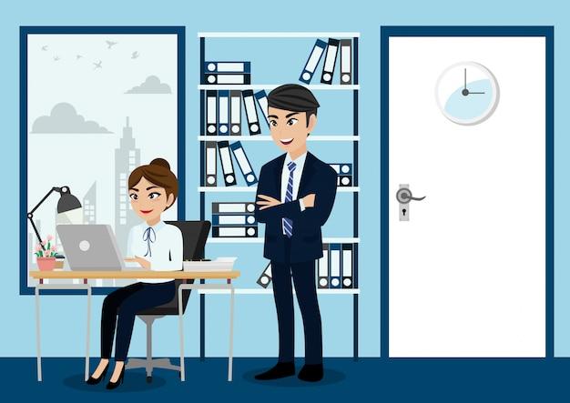 Groupe de gens d'affaires, patron et personnel ou travailleurs en arrière-plan de bureau dans le style de caractère de dessin animé.