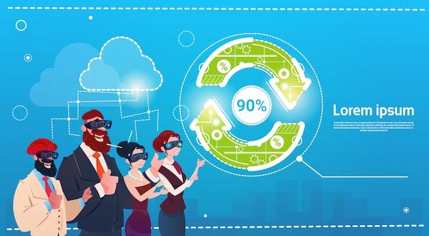 Groupe De Gens D'affaires Porte Des Lunettes De Réalité Numérique Arrow Update Finance Success Concept Vecteur Premium