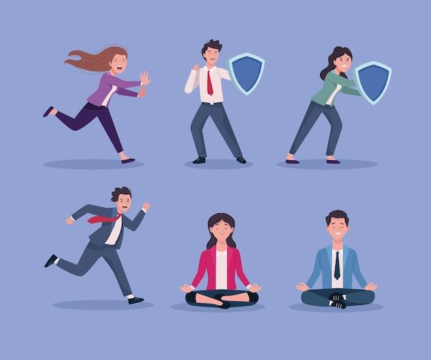 Groupe de gens d'affaires stressé et illustration détendue