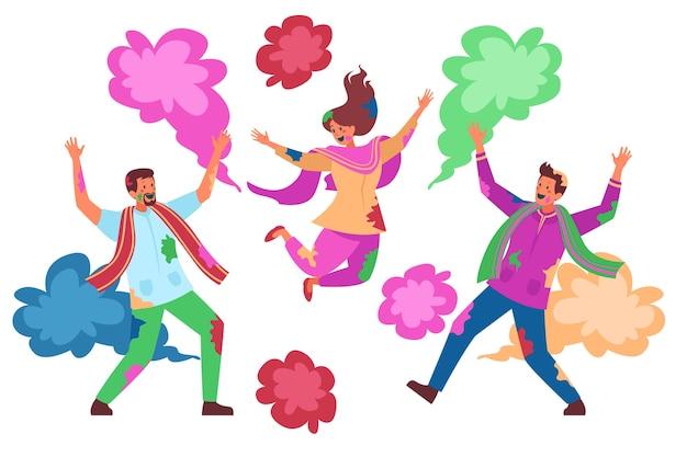 Groupe gens, célébrer, holi, festival