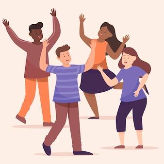 Groupe gens, danse, ensemble