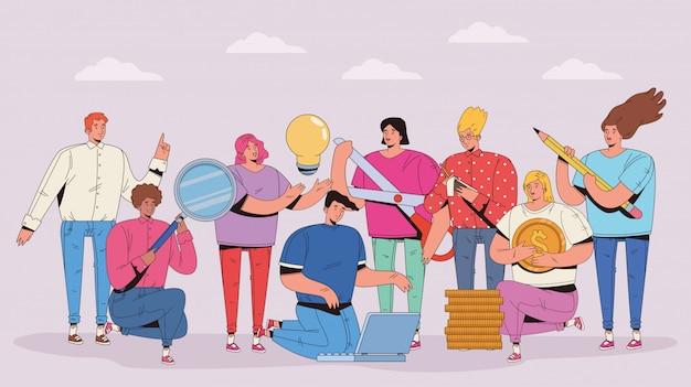 Groupe gens, à, financier, ensemble, icônes