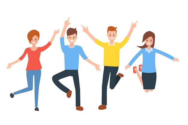 Groupe de gens heureux sautant profiter de la vie.