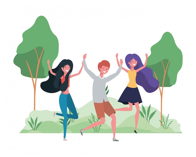 Groupe de gens qui dansent dans un paysage avec des arbres et des plantes
