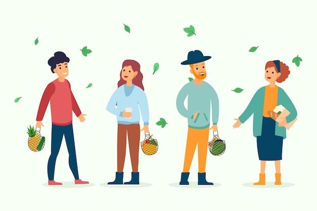 Groupe de gens de style de vie vert