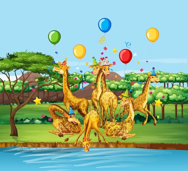 Groupe de girafes en personnage de dessin animé de thème de fête sur la forêt