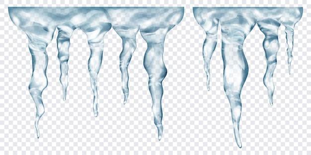 Groupe de glaçons réalistes gris translucides de différentes longueurs, connectés en haut, isolés sur fond transparent. transparence uniquement en format vectoriel