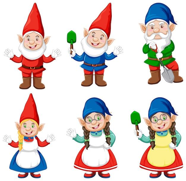 Groupe de gnome dans le style de dessin animé de costume de jardinier isolé sur fond blanc