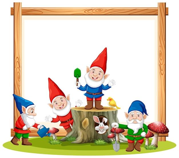 Groupe de gnomes avec bannière vierge sur blanc