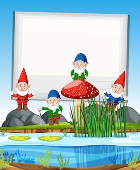 Groupe de gnomes debout à côté de marais avec bannière vierge en style cartoon