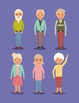 Groupe grand-père et grand-mère personnes âgées debout pose