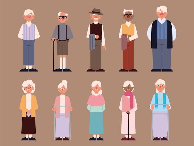 Groupe grands-parents mignons