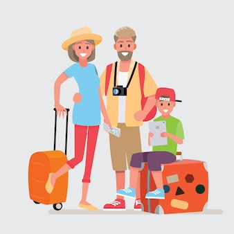 Groupe heureux de famille voyageur