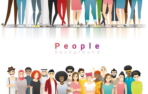 Groupe, heureux, multi, ethnique, gens, debout, ensemble