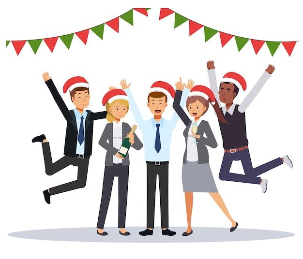 Groupe d'homme d'affaires et femme d'affaires célèbrent la fête de noël. personnage de dessin animé plat.