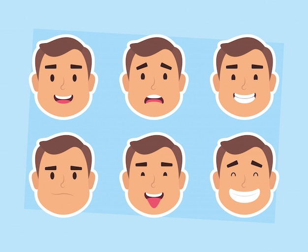 Groupe homme, faces, caractères, vecteur, illustration, conception