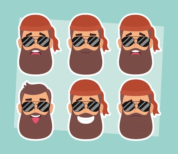 Groupe d'homme motocycliste fait face à des personnages vector illustration design