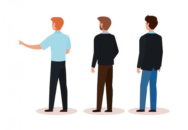 Groupe d'hommes d'affaires de caractère avatar de dos