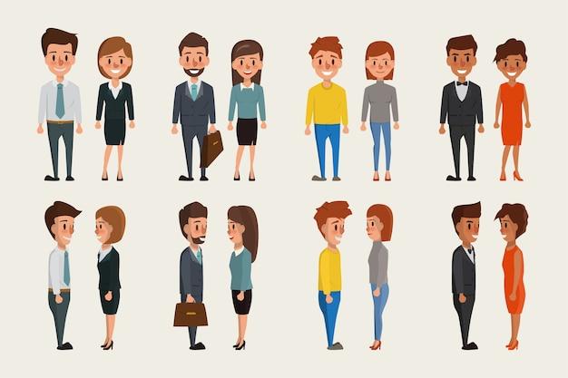 Groupe d'hommes d'affaires et de femmes d'affaires debout caractère.
